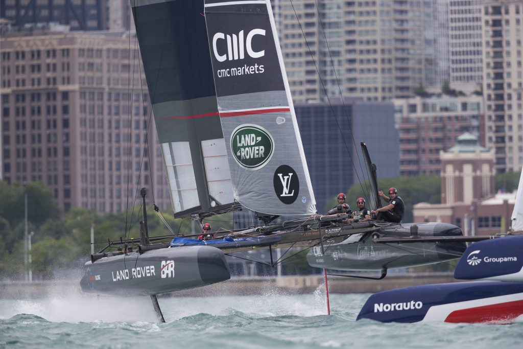 Chicago IL. USA. 12th June 2016. The Louis Vuitton America's Cup World Series. LandRover BAR the British America's Cup team skipperd by Ben Ainslie. Shown here in action and taking 2nd place in the regatta. (Photo by Lloyd Images)