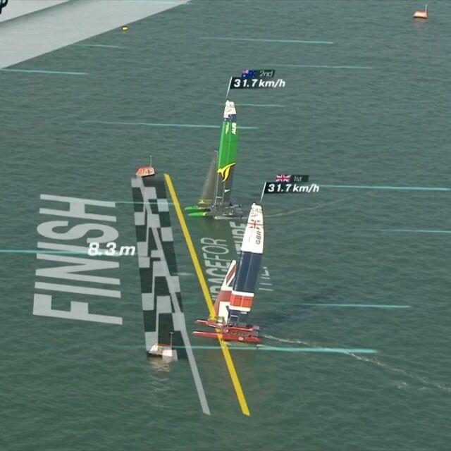 As close as it gets against our Aussie mates @sailgpaus #tightfinish #pushinghard @sailgp @sailgpgbr